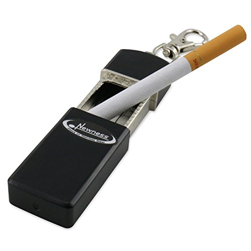 Portable Ashtray, Newness Modern Portable Ashtray, Cigarette Ashtray for Outdoor Use, Ash Holder for Smokers, Pocket Smoking Ash Tray with Lid, Key Chain for Easily Bringing When Travelling, Black