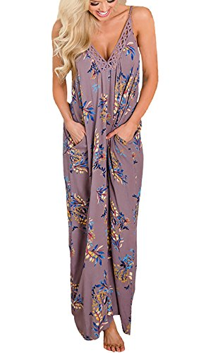 PRETTYGARDEN Women's Spaghetti Strap Floral Print Deep V Neck Boho Maxi Long Flowy Dress with Pocket (Purple, Medium) -