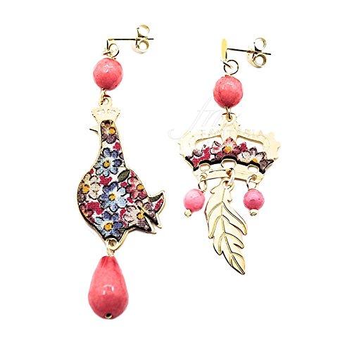 Boucles d'oreilles regalina Mini Argent Soie Rose Pierres Color facetées Lebole Bijoux v5s4ufm