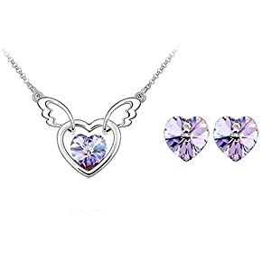 Angle Wing with Heart Swarovski Elements Crystal Pendant Necklace Stud Earrings Set Fashion Jewelry for Women