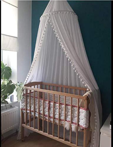 Weiss mit Bommeln Tyhbelle Baldachin mit kleinen Bommeln Betthimmel Kinder Bett Baumwolle H/ängende Moskiton f/ür Schlafzimmer H/öhe 240 cm Sauml/änge 270cm