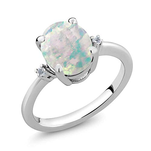 Oval 3 Stone Cabochon Ring - Gem Stone King 2.16 Ct Oval Cabochon White Simulated Opal & White Diamond 925 Sterling Silver 3-Stone Women's Ring (Size 5)