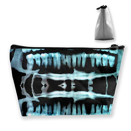 Large Capacity Hanging Toiletry Bag For Men & Women - Portable Waterproof Pencil Case - Lightweight Halloween Spooky Skeleton Teeth Organizer Makeup Bag -