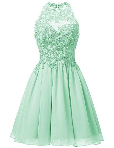 Abendkleider Knielang Gipüre Mintgrün Neckholder Homecoming Dresstells Brautjungfernkleider Ballkleid Damen OUwqdHEH
