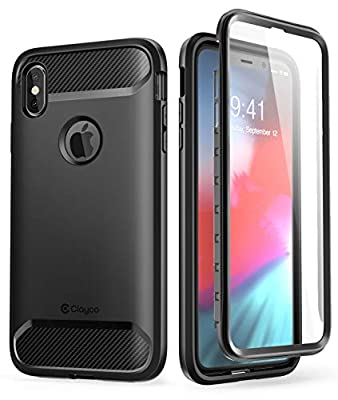 iPhone XS Max Case, Clayco [Xenon Series] Full-body Rugged Case with Built-in Screen Protector for Apple iPhone XS Max 6.5 Inch 2018 (Black) by Clayco
