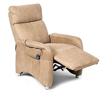 SuenosZzz. Sillon reclinable de Relax, Butacas Masaje por vibracion Relax, Sillon tapizado,Tela simil Piel Vuelta búfalo, Color Beige Camel. Sistema ...