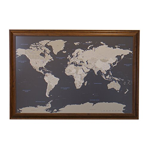 Push Pin Travel Maps Earth Toned World with Brown Frame and Pins - 27.5 inches x 39.5 inches