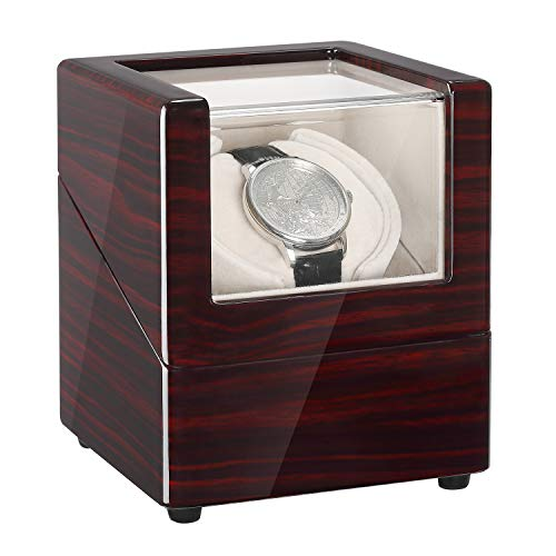 CHIYODA Single Automatic Watch Winder with Quite Motor-Unique12 Rotation Modes (Winding Omega Watch)