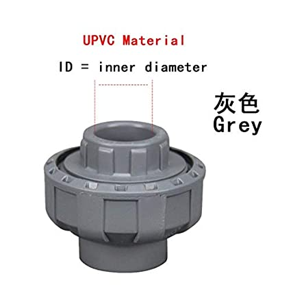 Color: Grey, Thread Specification: 63mm Xucus UPVC Union Pipe Fittings Coupler Water Connector for Garden Irrigation Hydroponic System ID 20mm-110mm 1Pcs