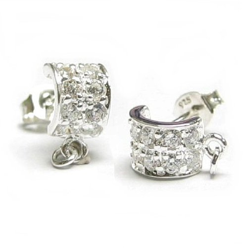 2 pcs .925 Sterling Silver Curved Stud Earring Posts w/Loop And Ring for Dangling W/Clutches Ear Nut/Findings/Bright