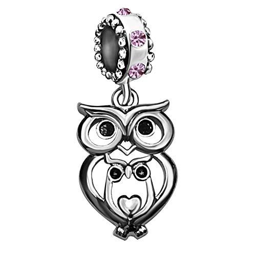 JMQJewelry Owl Mom Heart Love Purple Birthstone Charms Beads for Bracelets Women Jewelry Sister Wife (Baby Owl Jewelry)