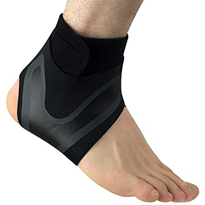 Mayunn Adjustable Elastic Ankle Support Sleeve Elastic Ankle Brace Guard Foot Support Sports - Reduce Sports Injuries, Recovery After Injury (Black)