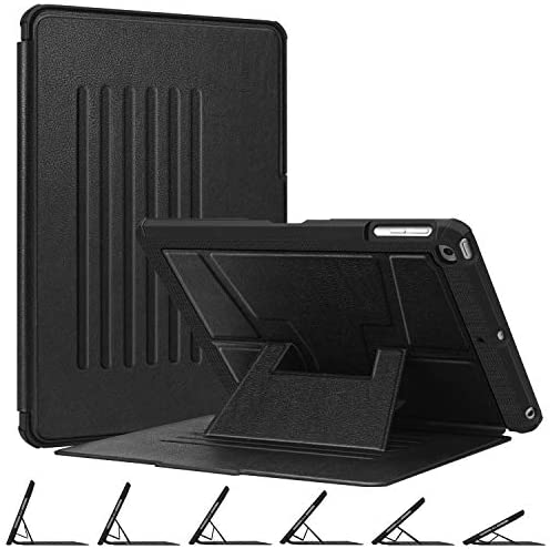 Fintie Magnetic Stand Case for iPad 6th / 5th Generation – [Multiple Secure Angles] Shockproof Rugged Soft TPU Back Cover for iPad 9.7 2018 2017 / iPad Air 2 / iPad Air, Auto Wake/Sleep, Black