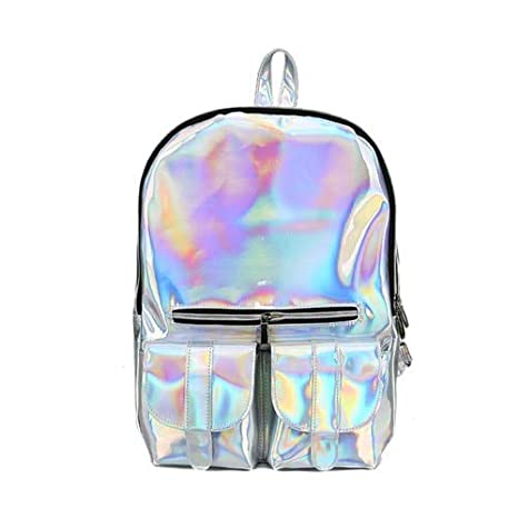 d753a59a0009 Image Unavailable. Image not available for. Color  Fashion Laser Backpacks  Women European Style Travel Bags Female Bright Zipper High Capacity School  Bag