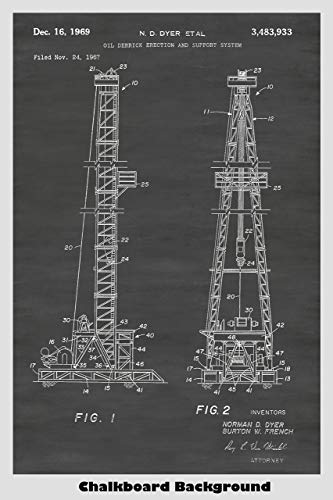 - Oil Drilling Rig Patent Print Art Poster: Choose From Multiple Size and Background Color Options