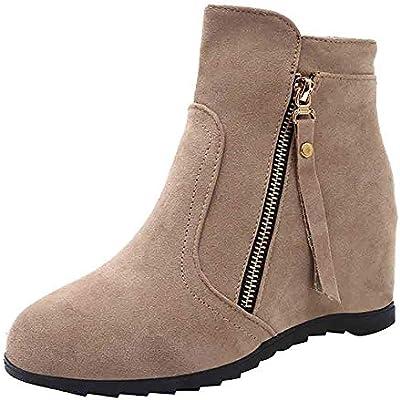 LuckyGirls Botas de Ante Cuñas Aumento Interno Zapatos para Mujer Botitas Zapatillas 6cm