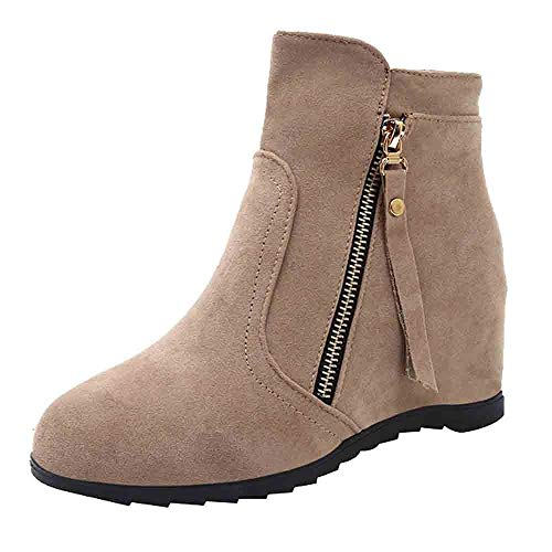 - Christmas Clearence Women's Shoes KpopBaby Solid Color Increase High Boots Suede Round Head Martin Boots