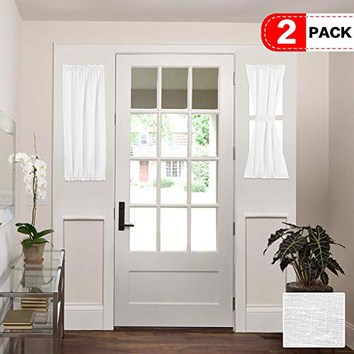 H.VERSAILTEX White Patio Door Curtain Panels Energy Saving Easy Care Short French Door Curtains, Side Lights Front Door Curtains - Two Panels 25W by 40L Inches (Window Door Side Curtains Panel)