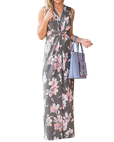 Knot V-neck Sleeveless (Womens Tank Maxi Dress Floral V Neck Sleeveless Tie Knot Boho Beach Long Dresses Grey X-Large)