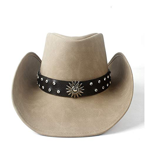 VAXT Direct Unisex Women Men Westerly Cowboy Hat With Touchwood Leather Ribbon Lady Dad Cowgirl Sombrero Jazz Cap