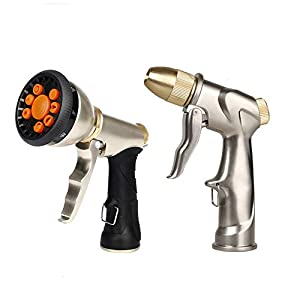 AltraTech Metal Garden Hose Nozzle Heavy Duty Hose Sprayer Nozzle 2 Pack with 9 Adjustable Patterns for Garden, Car Wash