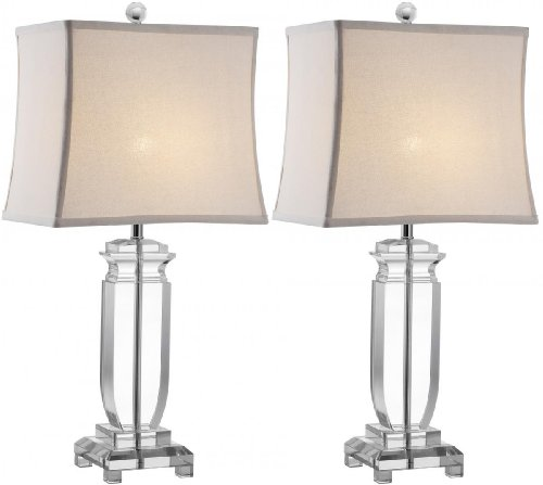 Safavieh Lighting Collection Olympia Crystal 25-inch Table Lamp (Set of 2) (Silver Table Lamp With Crystals)