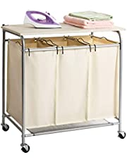 Marble Field 3-Bag Heavy-Duty Rolling Laundry Cart with Ironing Board Laundry Room Organizer with Wheels