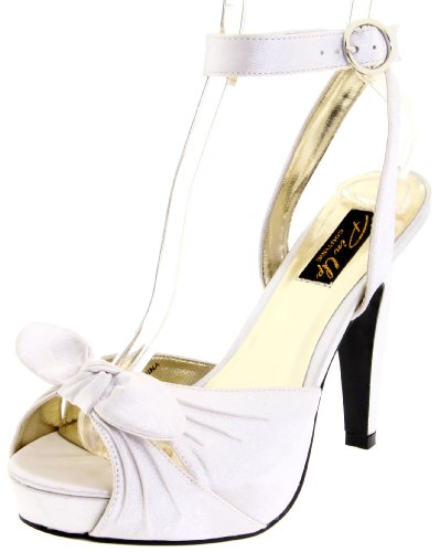 Pleaser Women's Bettie-04/IV Ankle-Strap Sandal,Ivory Satin,7 M (Satin Ankle Wrap Sandal)