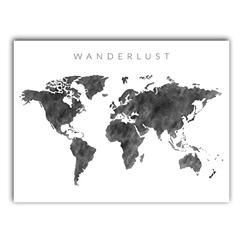 Squareious Watercolor World Map Poster, Large Black White Wa