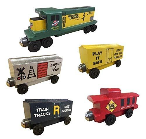 (Whittle Shortline Railroad - Manufacturer Safety Train Diesel 5pc. Set - Wooden Toy Train )