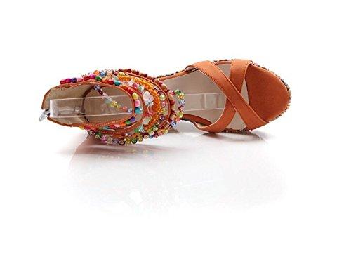 Lazutom - Sandalias de vestir de Piel Sintética para mujer naranja