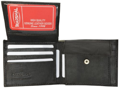 Genuine Lambskin Soft Leather Bifold Credit Card Wallet with Coin Pouch by Marshal