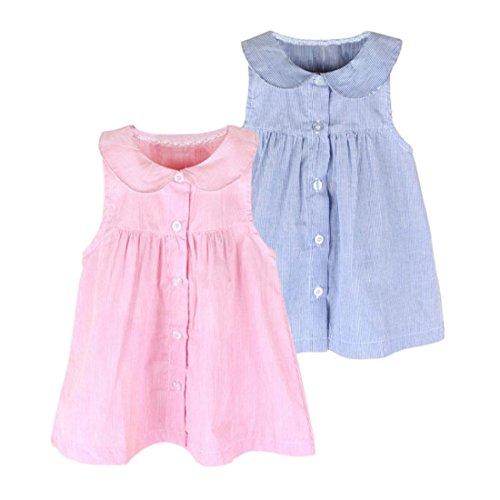 Summer Toddler Infant Baby Girls Sleeveless Stripe Dress Vest Dress Clothes Tops