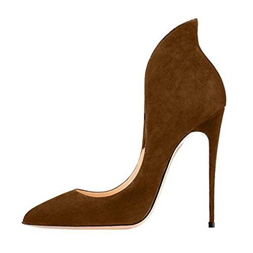 Jushee Women's Chic Pointed Toe Stiletto High Heels Pumps for Evening Shoes Brown jThcBE