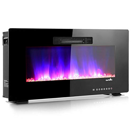 Cheap Dawndior 36 Recessed Fireplace Wall Mounted Standing Electric Heater w/Remote Control Touch Screen Adjustable Flame Color Speed Brightness Black Black Friday & Cyber Monday 2019