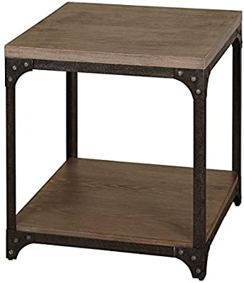 Wood End Table with Lower Shelf - Metal Frame End Table - Charcoal Gray