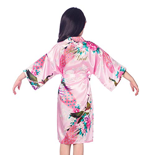 SexyTown Flower Girl Robes Satin Nightgown Wedding Party Getting Ready Robe with Gold Glitter (12(Height 47.2