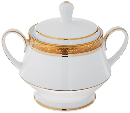 - Noritake Crestwood Gold Sugar Bowl with Cover