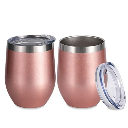 SUNWILL Insulated Wine Tumbler with Lid Rose Gold 2 pack, Double Wall Stainless Steel Stemless Insulated Wine Glass 12oz… |