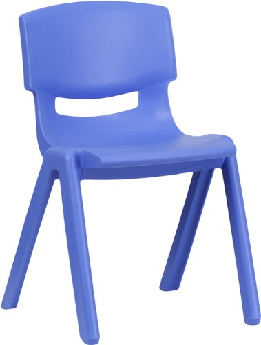 Flash Furniture Blue Plastic Stackable School Chair with 13.25'' Seat Height YU-YCX-004-BLUE-GG