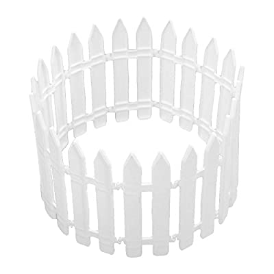 12 PCS Decorative White Plastic Picket Fence Set for Miniature Fairy Garden Christmas Tree Santa Claus
