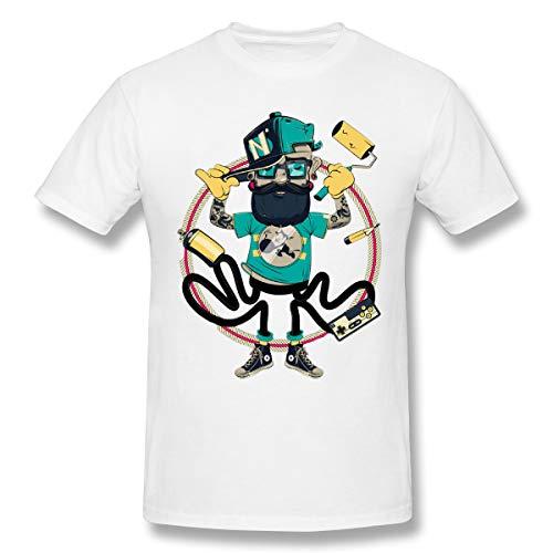 Bfcxbgdsig Graffiti Artist Casualwith Round Collar Tshirt White XXL