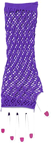 Raver Costume (Forum Novelties Women's Club Candy Double Fishnet Novelty Glovelettes, Purple, One Size)