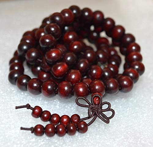 Rosewood mala beads necklace 10 mm 108+1 buddhist prayer beads japa mala Red sandalwood mala beads - Energized for chanting mantra Chakra mala w/Rosary pouch - US Seller