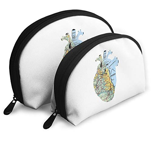 Portable Bags Clutch Pouch Heart Chicago Map Storage