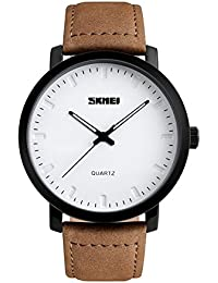 Mens Unique Analog Quartz Waterproof Business Casual Leather Band Dress Wrist Watch with Simple Fashion Classic...
