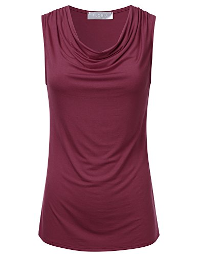 - FLORIA Womens Cowl-Neck Ruched Draped Sleeveless Stretchy Blouse Tank Top Burgundy 1XL
