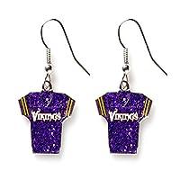 Sports Team Minnesota Vikings Jersey Dangle Glitter Earring Set