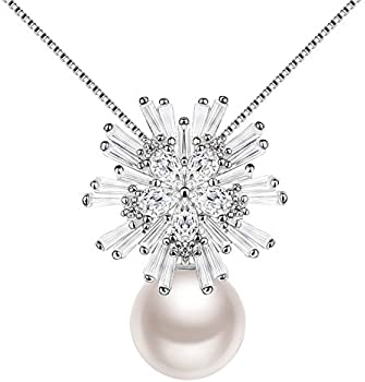 J.Rosee Freshwater Pearl Sterling Silver Snowflake Necklace