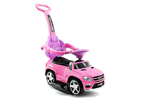 Ride On Push Car Stroller and Rocking Chair Swing 2018 Luxury Kids Riding Mercedes Benz GL63 Convertible Baby Stroller Toy includes Leather Seat, MP3 Aux Plug in (Pink)